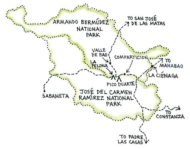 Jarabacoa with Armando Bermúdez and José del Carmen Ramírez National Parks (Map by Dana Gardner)